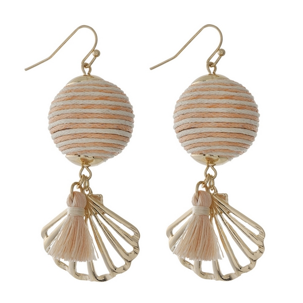 "Gold tone fishhook earrings with a peach and ivory thread wrapped ball bead and a seashell charm. Approximately 2"" in length."