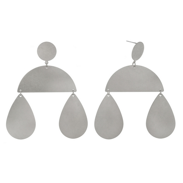 "Silver tone stud earrings with two teardrop and a half circle shape. Approximately 3.25"" in length."