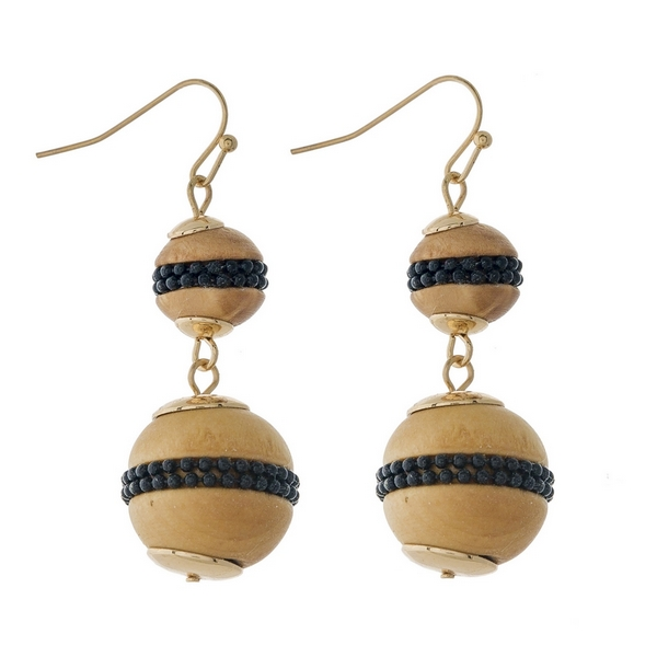 """Gold tone fishhook earrings with two wooden beads and black bead accents. Approximately 2"""" in length."""