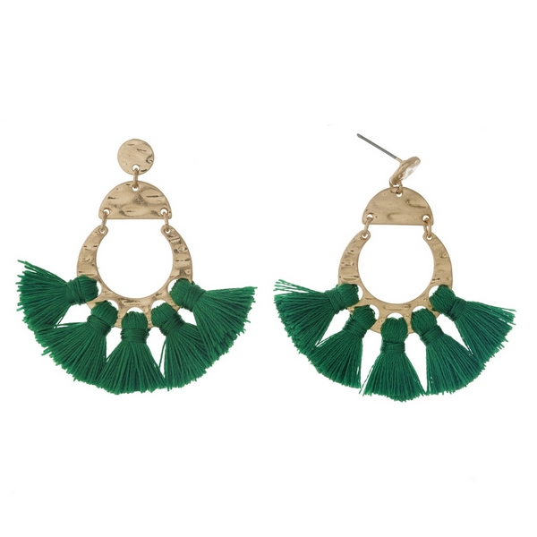 Wholesale gold post earrings five green tassels