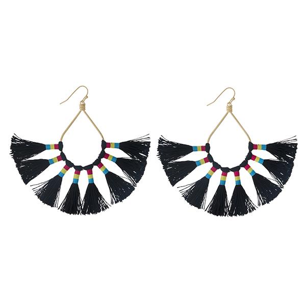 Wholesale gold fishhook earrings open oval eight black thread tassels