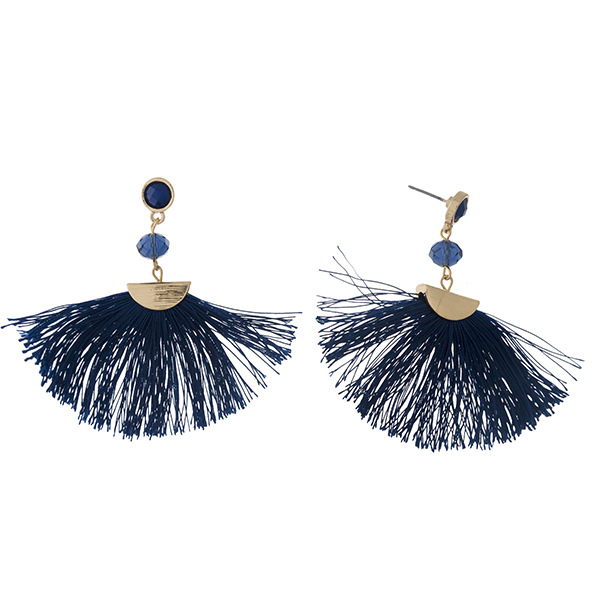 """Gold tone post earrings with a navy blue fan tassel and a faceted bead accent. Approximately 2.25"""" in length."""