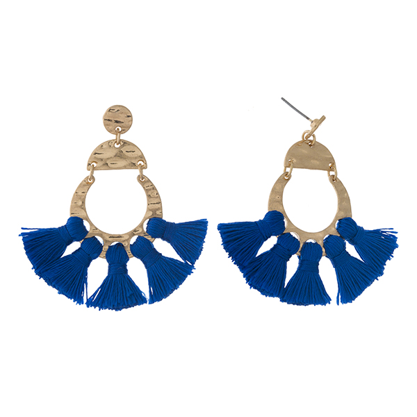 Wholesale gold post earrings five blue tassels