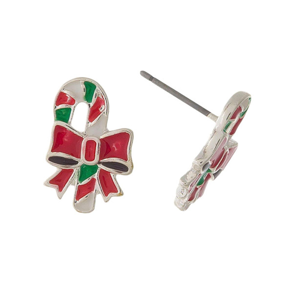 """Christmas stocking, silver tone, stud earrings. Approximately 1/2"""" in length."""