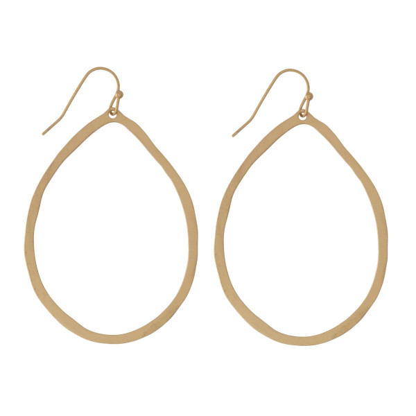 "Dainty metal fishhook earrings with a hammered texture and a teardrop shape. Approximately 2.25"" in length."