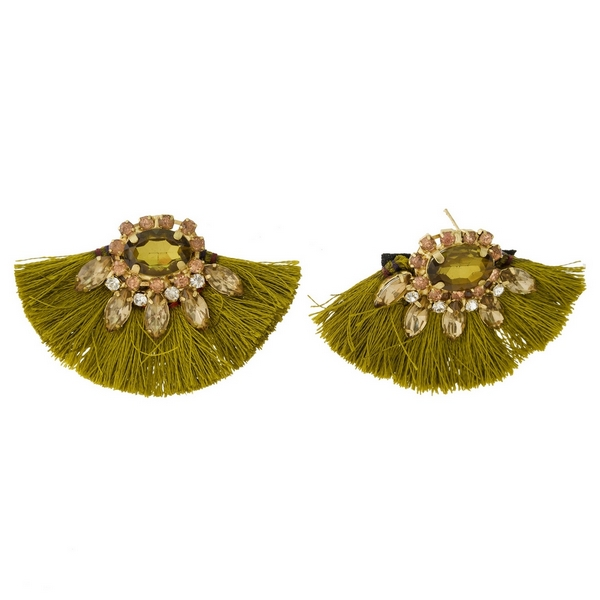 """Gold tone stud earrings with rhinestones and fanned thread tassels. Approximately 1.5"""" in length."""
