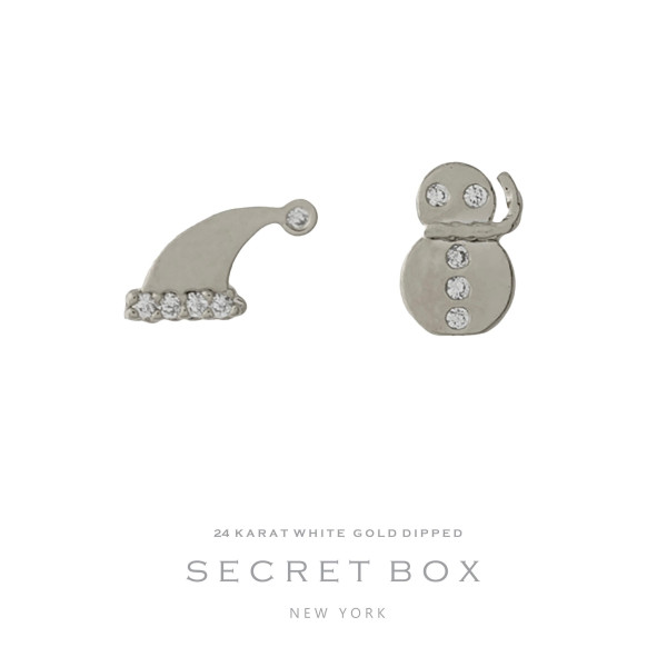 "Secret Box 24 karat white gold over brass snowman and Santa hat, Christmas stud earrings. Approximately 1/4"" in size."