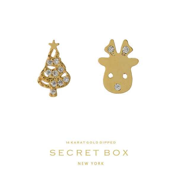 "Secret Box 14 karat gold over brass reindeer and Christmas tree stud earrings. Approximately 1/4"" in size."