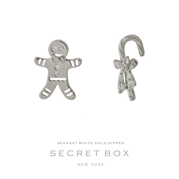 "Secret Box 24 karat white gold over brass candy cane and gingerbread, Christmas stud earrings. Approximately 1/4"" in size."