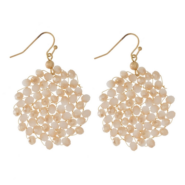 Wholesale gold fishhook earrings wire wrapped faceted beads circle