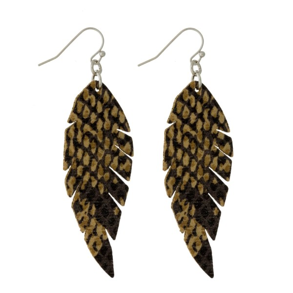 Wholesale faux leather fishhook earrings feather snakeskin pattern