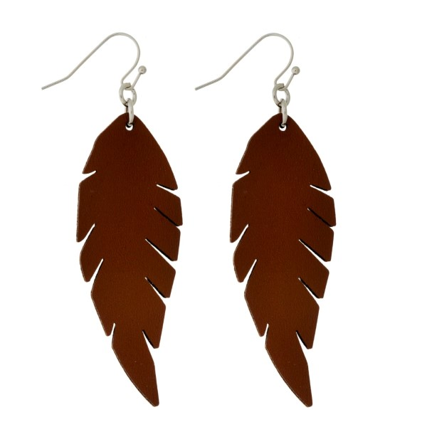 Wholesale silver fishhook earrings faux leather feather