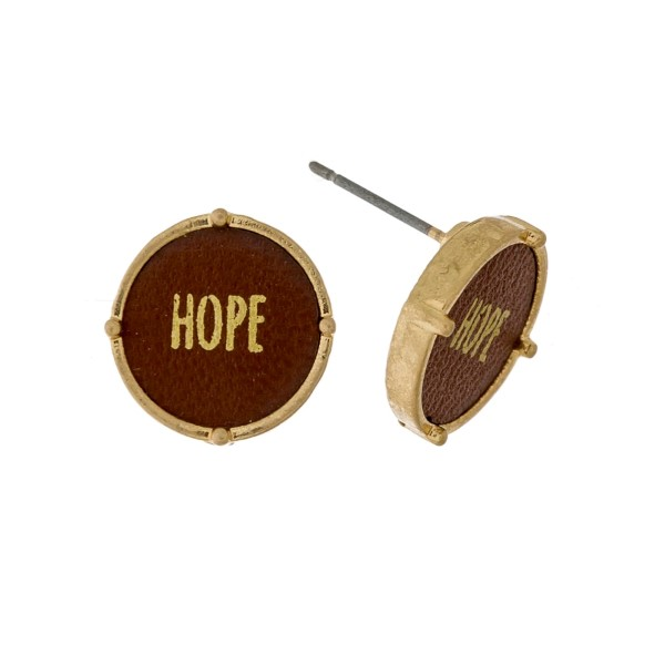 """Dainty, circle stud earrings with leather and stamped with """"Hope."""" Approximately 1/2"""" in diameter."""