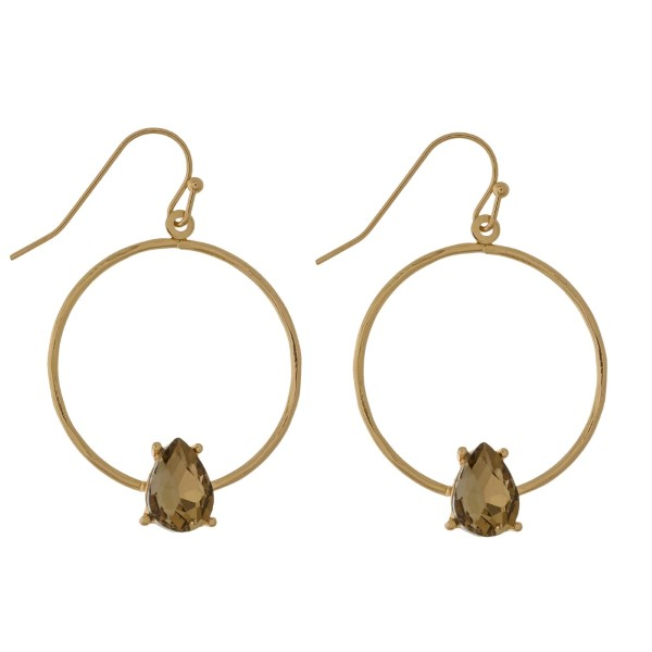 "Gold tone, fishhook earrings with an open circle shape and rhinestone accent. Approximately 1"" in diameter."