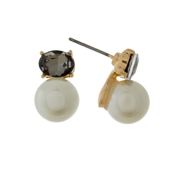 """Pearl and rhinestone stud earrings with a gold backing. Approximately 1/2"""" in length."""