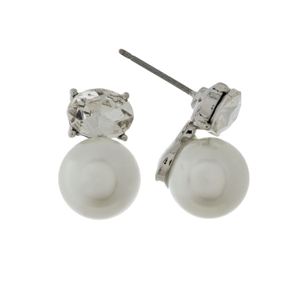 "Pearl and rhinestone stud earrings with a silver backing. Approximately 1/2"" in length."