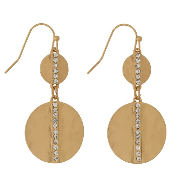 """Matte, fishhook earrings with clear rhinestone accents. Approximately 1.75"""" in length."""