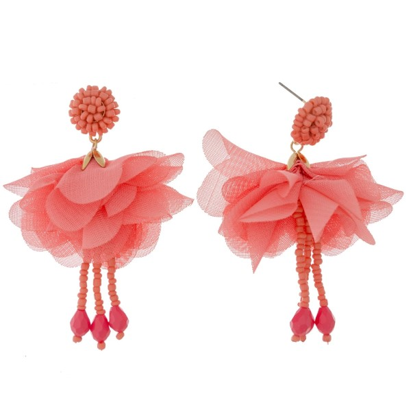 "Beaded post earring with a fabric flower and bead drop. Approximately 2.5"" in length."