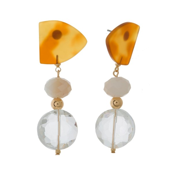 """Gold tone post earrings with colorful acetate and beaded accents. Approximately 2.25"""" in length."""