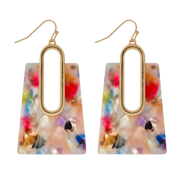 """Gold tone, fishhook earrings with an acetate square shape. Approximately 2"""" in length."""