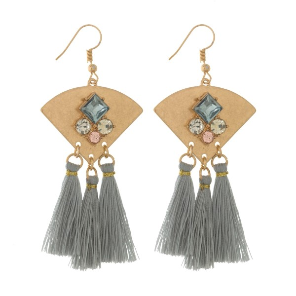 """Burnished gold tone post earrings with three thread tassels and rhinestone accents. Approximately 3"""" in length."""