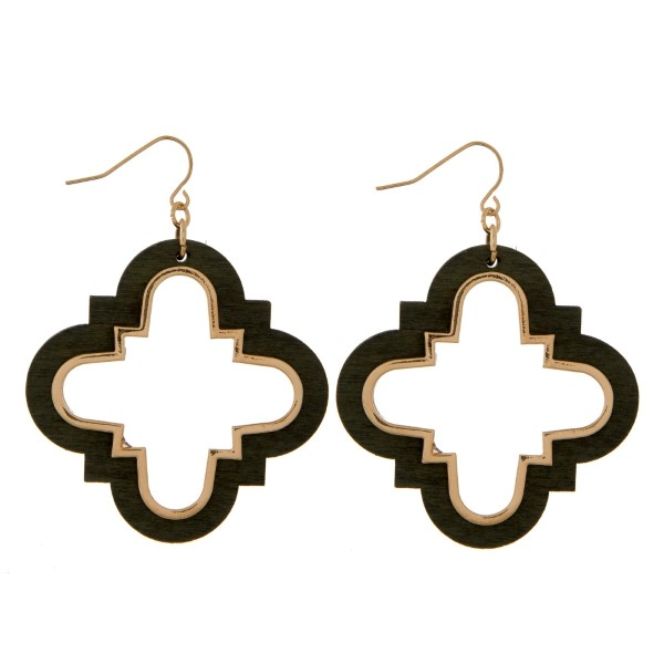 """Fishhook earrings with a wooden, quatrefoil shape. Approximately 2"""" in length."""