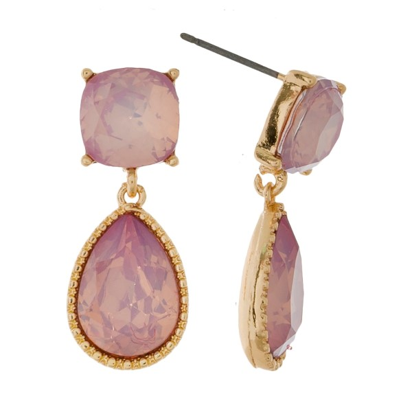 """Gold tone stud earrings with square and teardrop rhinestones. Approximately 1"""" in length."""