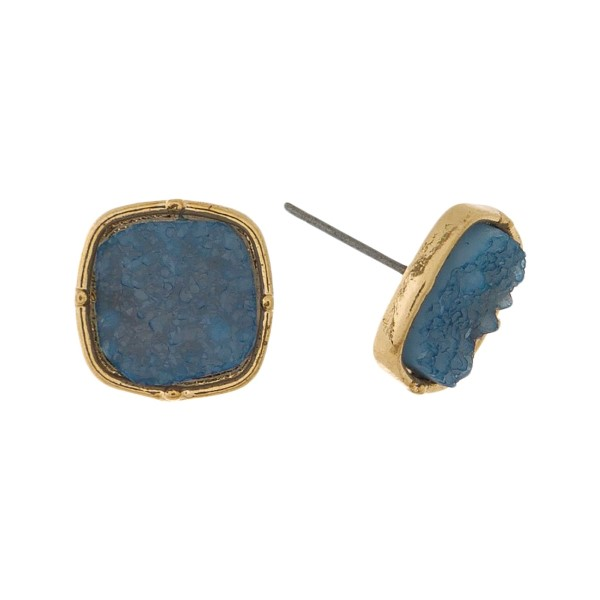 "Faux druzy, square shaped stud earrings. Approximately 1/2"" in size."