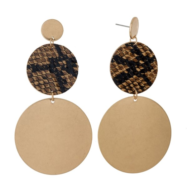 """Gold tone stud earrings with three circle shapes and animal print accent. Approximately 3.5"""" in length."""