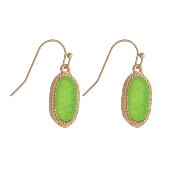 Wholesale dainty gold fishhook earrings oval faux druzy stone