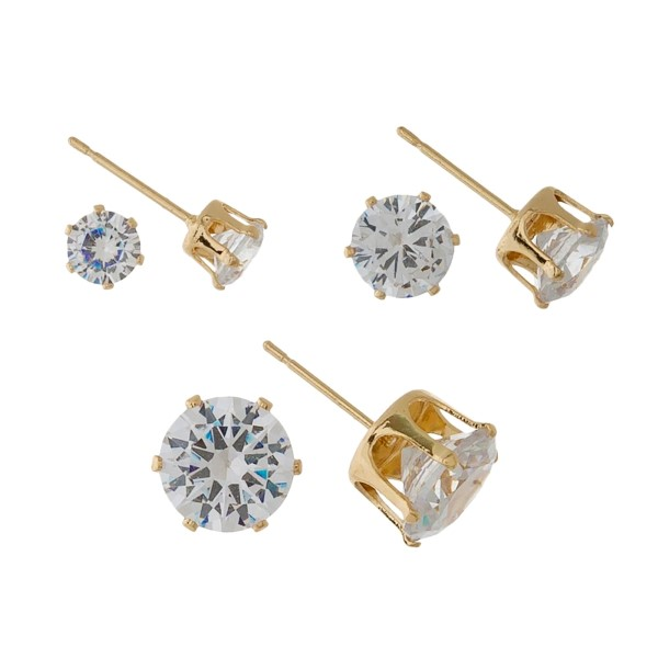 Dainty, three pair CZ stud earring set.