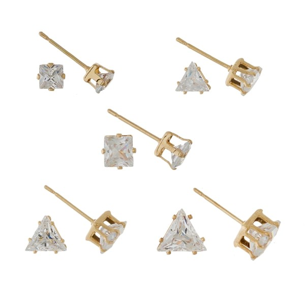 Five pair, gold tone CZ stud earring set.