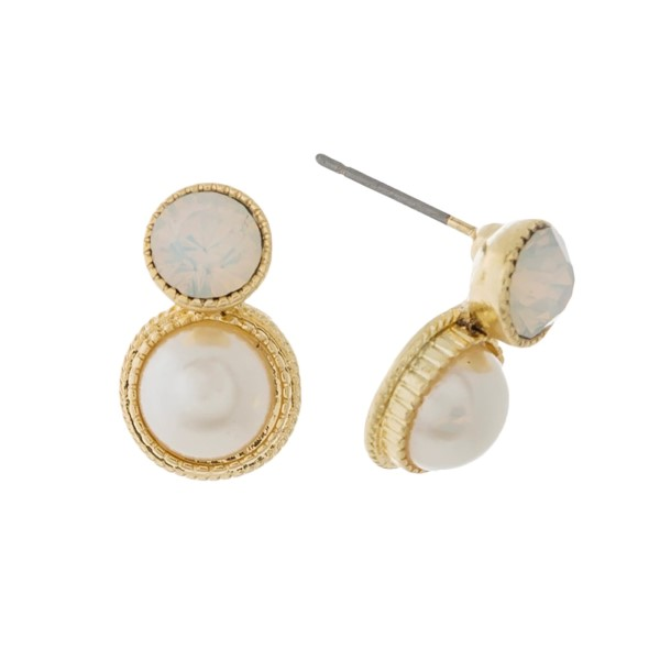 "Dainty pearl bead stud earrings with a rhinestone accents. Approximately 1/2"" in length."