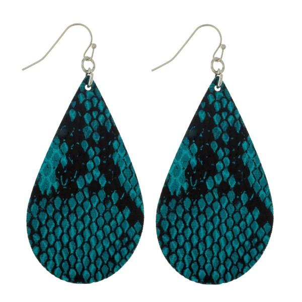 Wholesale silver fishhook earrings faux leather teardrop snakeskin pattern