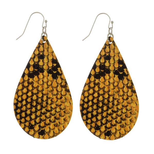 Wholesale silver fishhook earrings faux leather teardrop snakeskin pattern