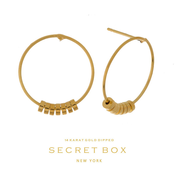 "Secret Box 14 karat gold dipped over brass circle stud earrings. Approximately 3/4"" in diameter. Sold in a gift box."