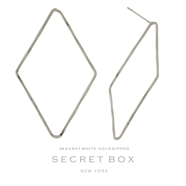 "Secret Box 24 karat white gold dipped over brass diamond shaped stud earrings. Approximately 2"" in length. Sold in a gift box."