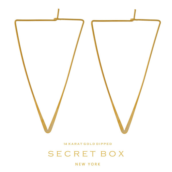 "Secret Box 14 karat gold dipped over brass triangle shaped hoop earrings. Approximately 2"" in length. Sold in a gift box."