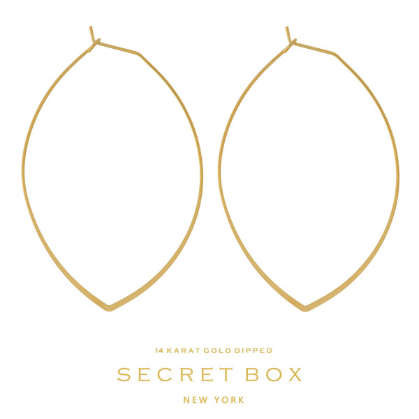 "Secret Box 14 karat gold dipped over brass, dainty, oval shaped hoop earrings. Approximately 2.5"" in length. Sold in a gift box."