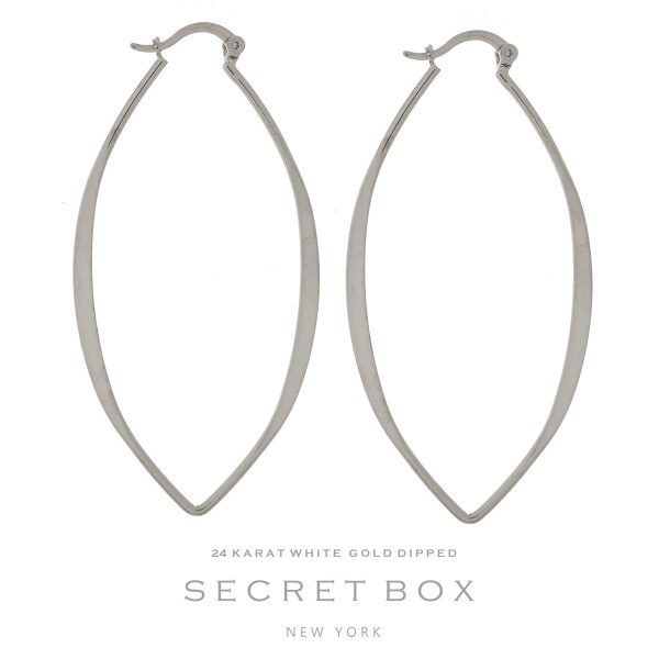 "Secret Box 24 karat white gold dipped over brass oval shaped hoop earrings. Approximately 2.5"" in length. Sold in a gift box."