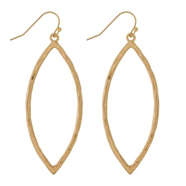 Wholesale metal fishhook earrings hammered oval