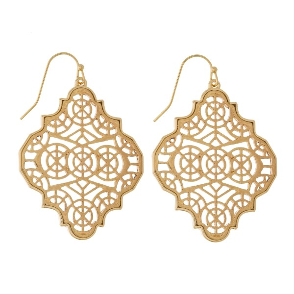 """Metal, fishhook earrings with a filigree quatrefoil shape. Approximately 2"""" in length."""