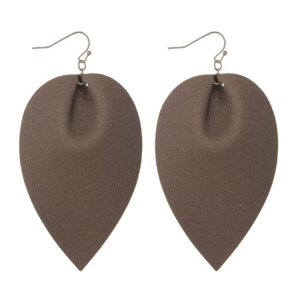 """Fishhook, drop faux leather earrings. Approximately 3"""" in length."""