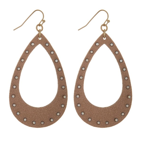 "Fishhook earring with faux leather teardrop shape accented with rhinestones. Approximately 2.5"" in length."
