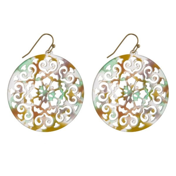 Wholesale gold fishhook filigree acetate earring diameter