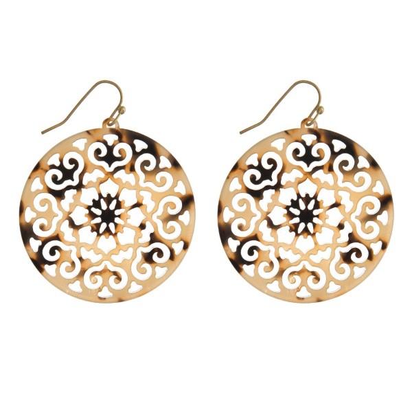 "Gold tone fishhook filigree acetate earring. Approximately 1.5"" in diameter."