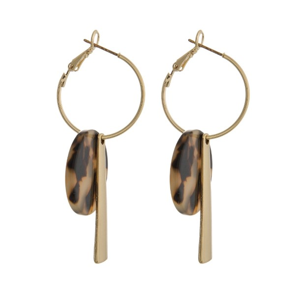 Wholesale gold hoop earring circle acetate gold bar charm