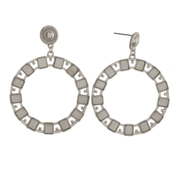 Wholesale metal post earring natural stone accent