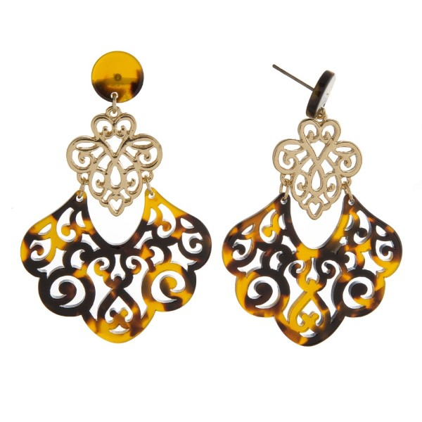 """Gold tone, post style earring with filigree acetate design. Approximately 2"""" in length."""