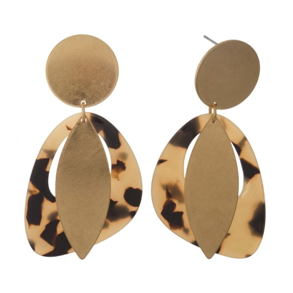 """Gold tone post earring with geometric acetate pendant. Approximately 2.5"""""""